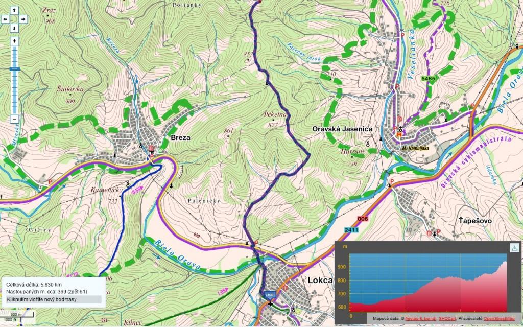 Trasa Lokca - Rozhladna Brabirka